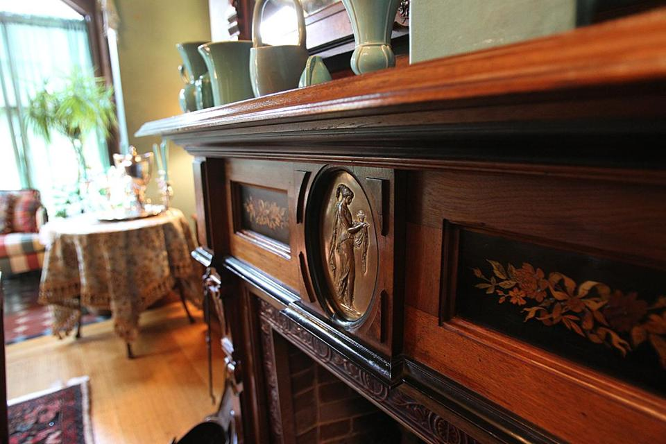 Detail of fireplace in dining room.